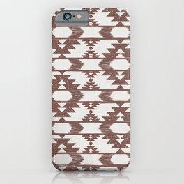 Terracotta clay & white brushed tribal kilim pattern iPhone Case