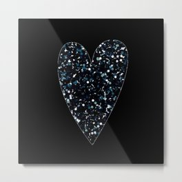 black sparkly heart Metal Print