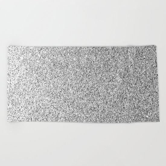 Beautiful Silver glitter sparkles Beach Towel