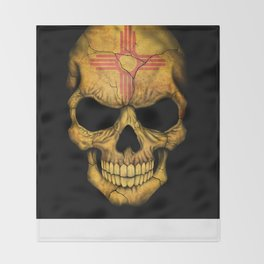 Dark Skull with Flag of New Mexico Throw Blanket