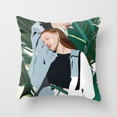 Blue (Lady) Throw Pillow