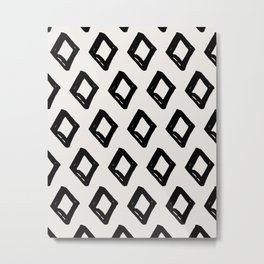 Modern Diamond Pattern Black on Light Gray Metal Print