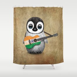 Baby Penguin Playing Indian Flag Acoustic Guitar Shower Curtain