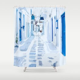 MyKonos Greece Watercolor Digital Painting Shower Curtain