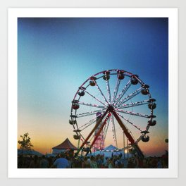 Bonnaroo ferris wheel and clock tower Art Print