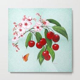 Cherries on Vintage  Metal Print