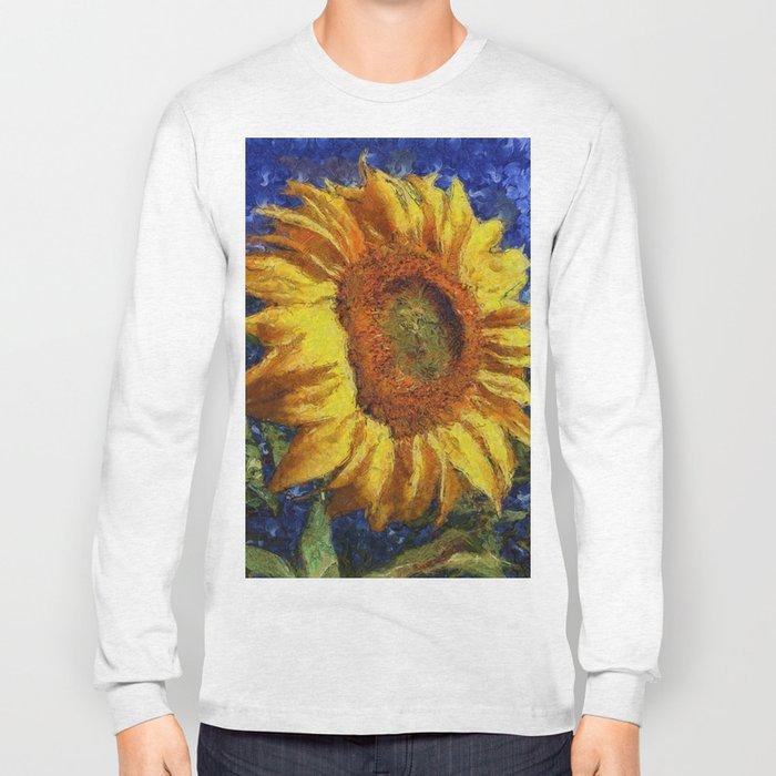 Sunflower In Van Gogh Style Long Sleeve T-shirt