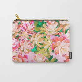 Cactus Fall - Pink and Green Carry-All Pouch