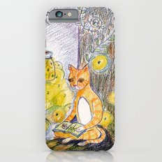 cat reading with fireflies in forest iPhone 6s Slim Case