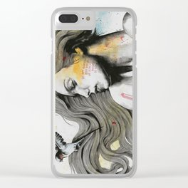 Monument (long hair girl with bird and skyline tattoo) Clear iPhone Case