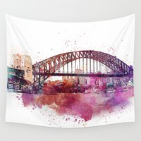 sydney Wall Tapestries featuring Sydney Harbor Bridge by LebensART