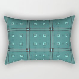 Dark Turquoise Geometric Pattern Rectangular Pillow