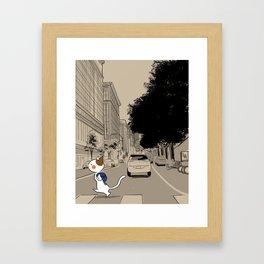 Crossing the Street Framed Art Print