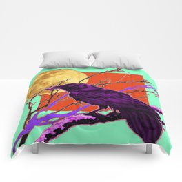Surreal Purple-green  Mystic Moon Crow/Raven Moon Abstract Comforters