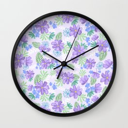 Louisa Lilac Watercolor Flowers Wall Clock