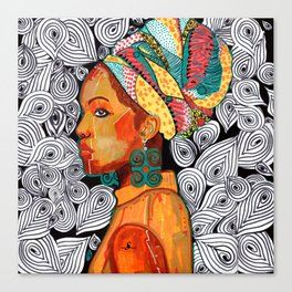 Portrait of a woman Jackie with multicolored headwrap Canvas Print
