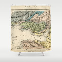 Vintage Map of the Coal Fields of South Wales - Forest Of Dean - Bristol and Somersetshire Shower Curtain