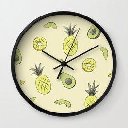 Pineapple and Avocado Wall Clock