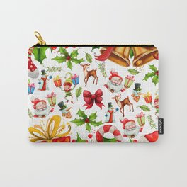 Holiday festive red green holly Christmas pattern Carry-All Pouch