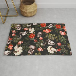 Floral and Skull Pattern Rug