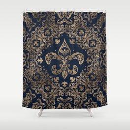 Luxury Fleur-de-lis Ornament - gold and dark blue Shower Curtain