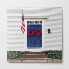 Blue Door with Red Wreaths Metal Print