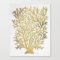coral Canvas Prints featuring Gold Coral by Cat Coquillette