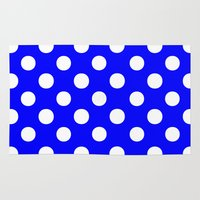 polka dots Area & Throw Rugs featuring Polka Dots (White/Blue) by 10813 Apparel