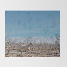 white horse Bolivia Throw Blanket