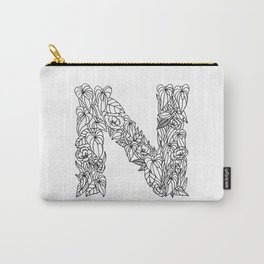 Floral Type - Letter N Carry-All Pouch