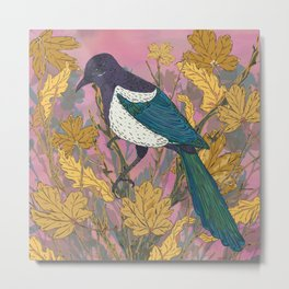 Magpie and Maple Metal Print