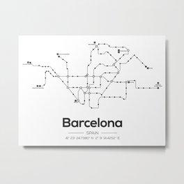 Barcelona Subway Map Metal Print