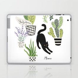 Black cat and plants in the pots. Morning stretch Laptop & iPad Skin