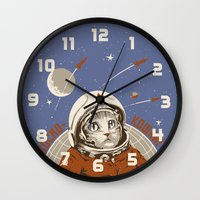 soviet Wall Clocks featuring Soviet Space Cat by Chris Kawagiwa