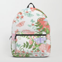 Abstract coral pink green butterfly floral illustration Backpack