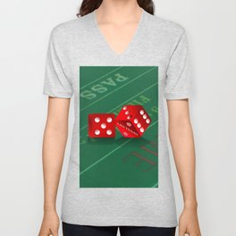 Craps Table & Red Las Vegas Dice Unisex V-Neck