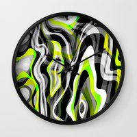 neon Wall Clocks featuring Neon by Marta Olga Klara