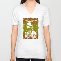 willy wonka V-neck T-shirts featuring Gold Ticket by Buby87