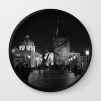 prague Wall Clocks featuring Prague by Roberta Vilas Boas