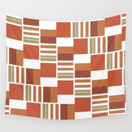 Quadrilateral Pattern - Clay Tones Wall Tapestry