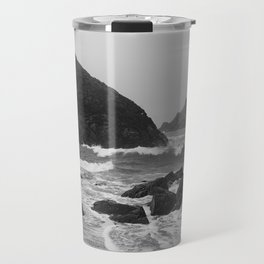 Kynance Cove in Black and White Travel Mug