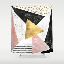 Elegant geometric marble and gold design Shower Curtain