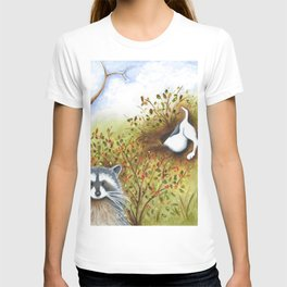 Silly Dog  Jack Russell Terrier, Raccoon, Landscape Painting, Original Art T-shirt