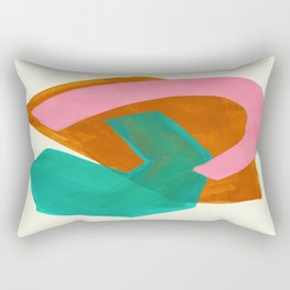 Ochre Pink Marine Green Fun Colorful Mid Century Modern Abstract Painting Shapes Pattern Rectangular Pillow