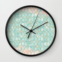 Luxury Aqua and Pink and Gold oriental pattern Wall Clock