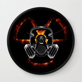 Gas mask and radiation icon Wall Clock