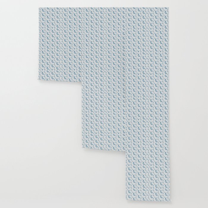 Blue Jasmine Burlap Print Wallpaper