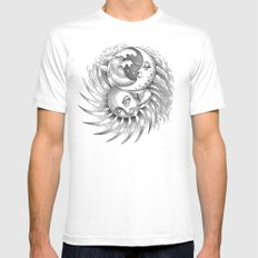 Moon and Sun White Mens Fitted Tee MEDIUM