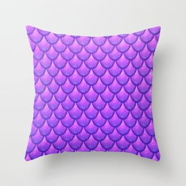 Fish Scales - Purple Version Throw Pillow
