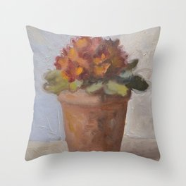 Red Flower Painting Throw Pillow